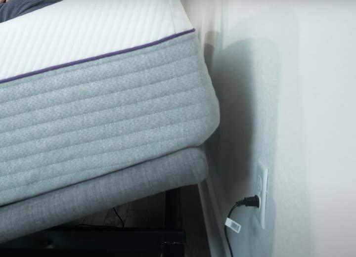 The Purple mattress rises up on the Purple Ascent base
