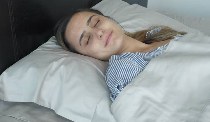 Boll and Branch Sheets - back sleeping